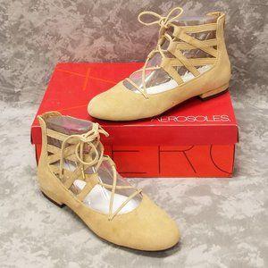 Aerosoles Goodness Suede Ballet Flats -7.5 Tan